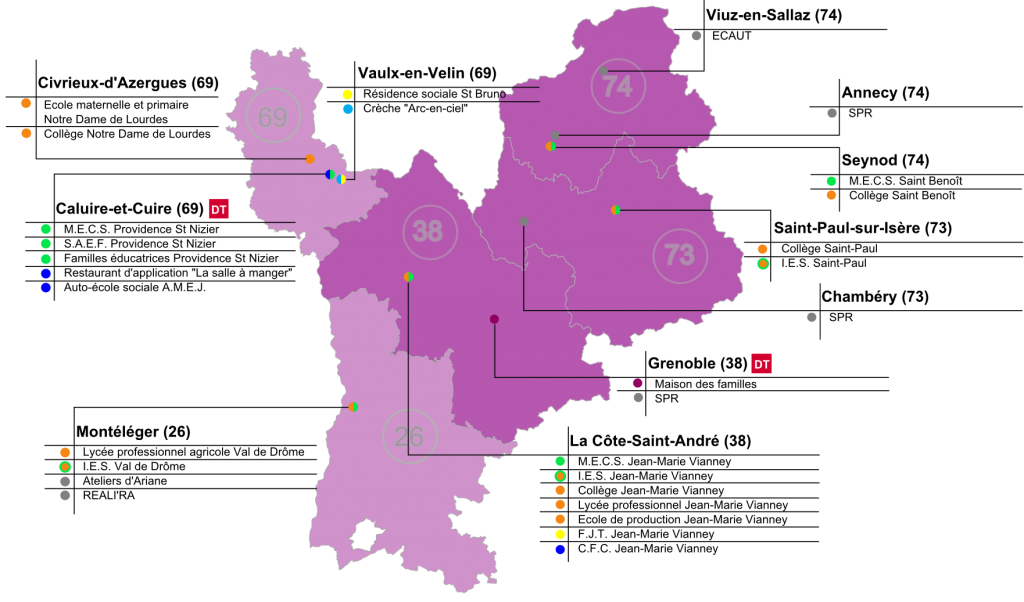 Implantations des établissements Apprentis d'Auteuil en Rhône-Alpes